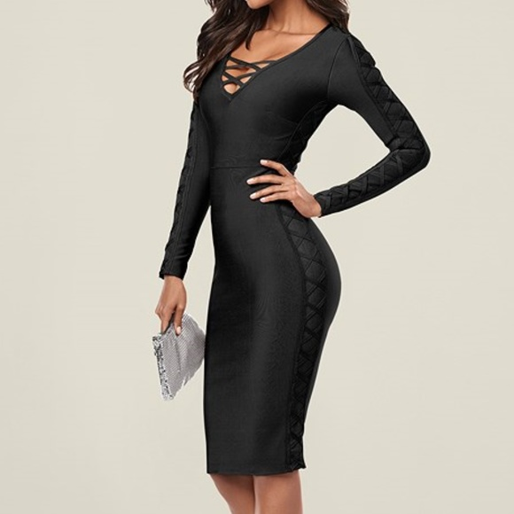 2153ba9f VENUS Dresses | Nwt Slimming Lace Up Long Sleeve Bodycon | Poshmark